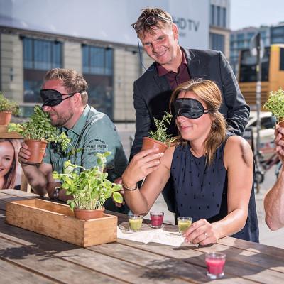 Zwei Männer und eine Frau mit verbundenen Augen riechen an verschiedenen Kräutern