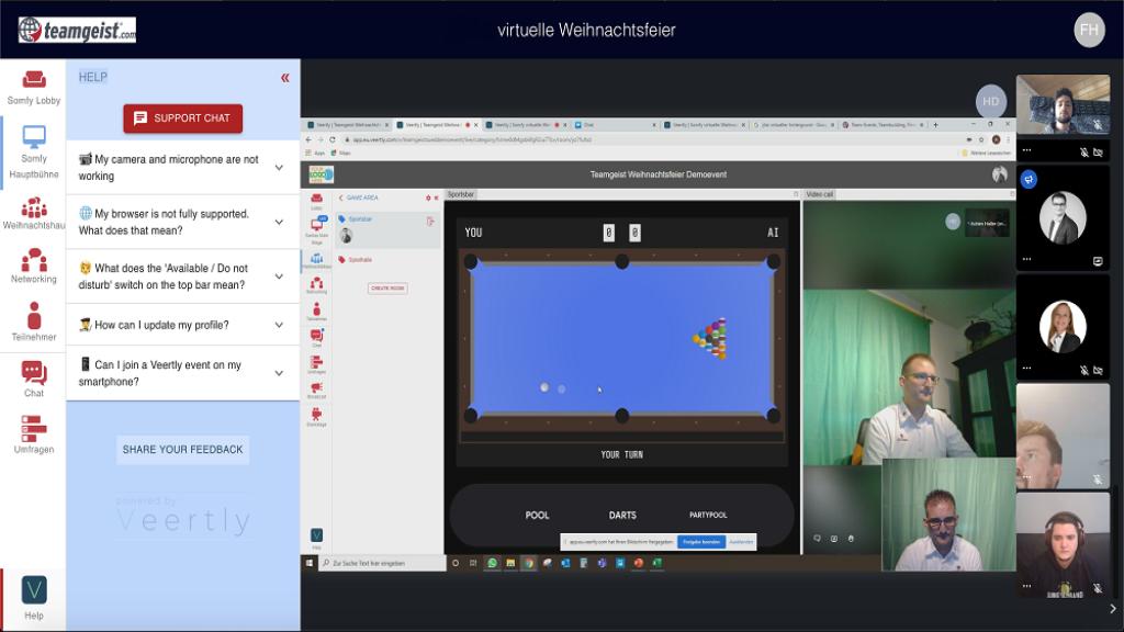 Links ein ständig erreichbarer Support-Bereich für alle TeilnehmerInnen und rechts ist das virtuelle Pool-Spiel gezeigt. Ideal für kleine Pausen.