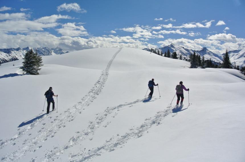 Schneeschuhwandern Gruppe in den Bergen Österreich teamgeist