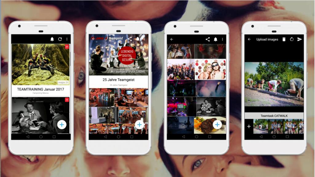 Pixlib Fotogruppen App zum Hochladen, Teilen, Speichern, Liken und Kommentieren von Eventfotos