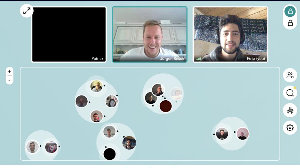 Innovativer Networking-Bereich für Konversation zu zweit oder in kleinen Gruppen.