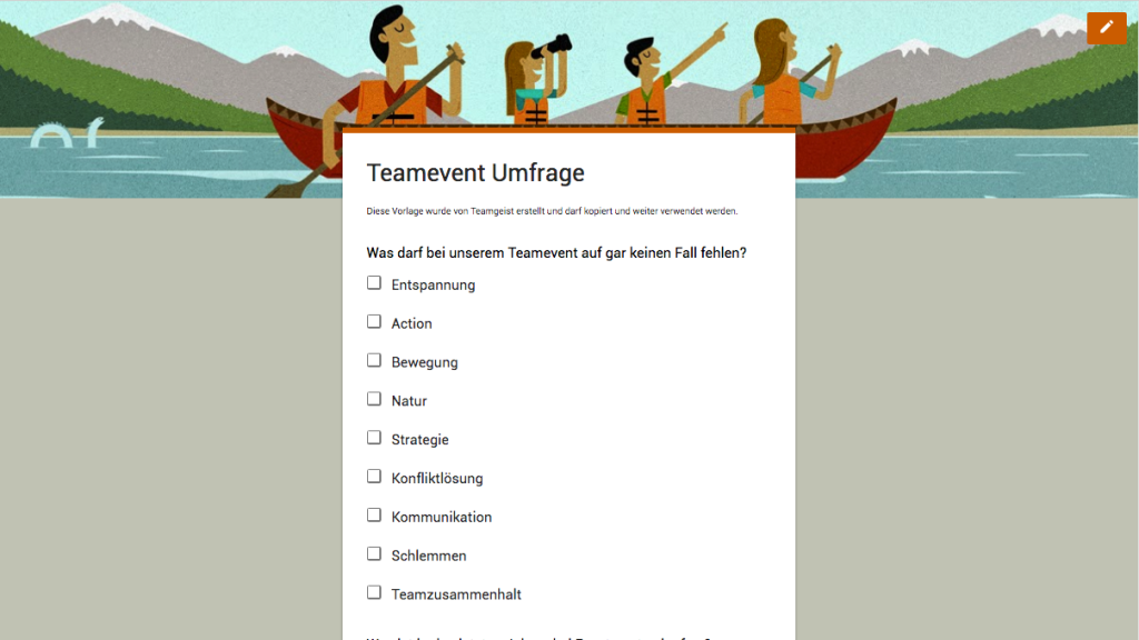 Teamevent Mitarbeiter Umfrage Google Formular