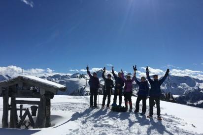Schneeschuhwandern teamgeist österreich Mitte Gruppe Berg bezwungen