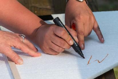 Hände Stift Zeichnung Flugobjekt Outdoor Bau