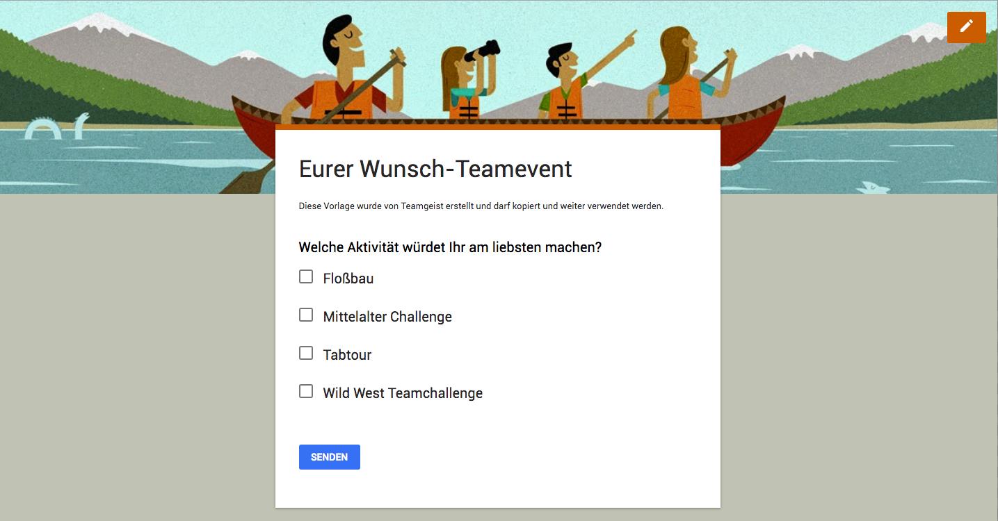 Google Formular Teamgeist Teamevent Umfrage