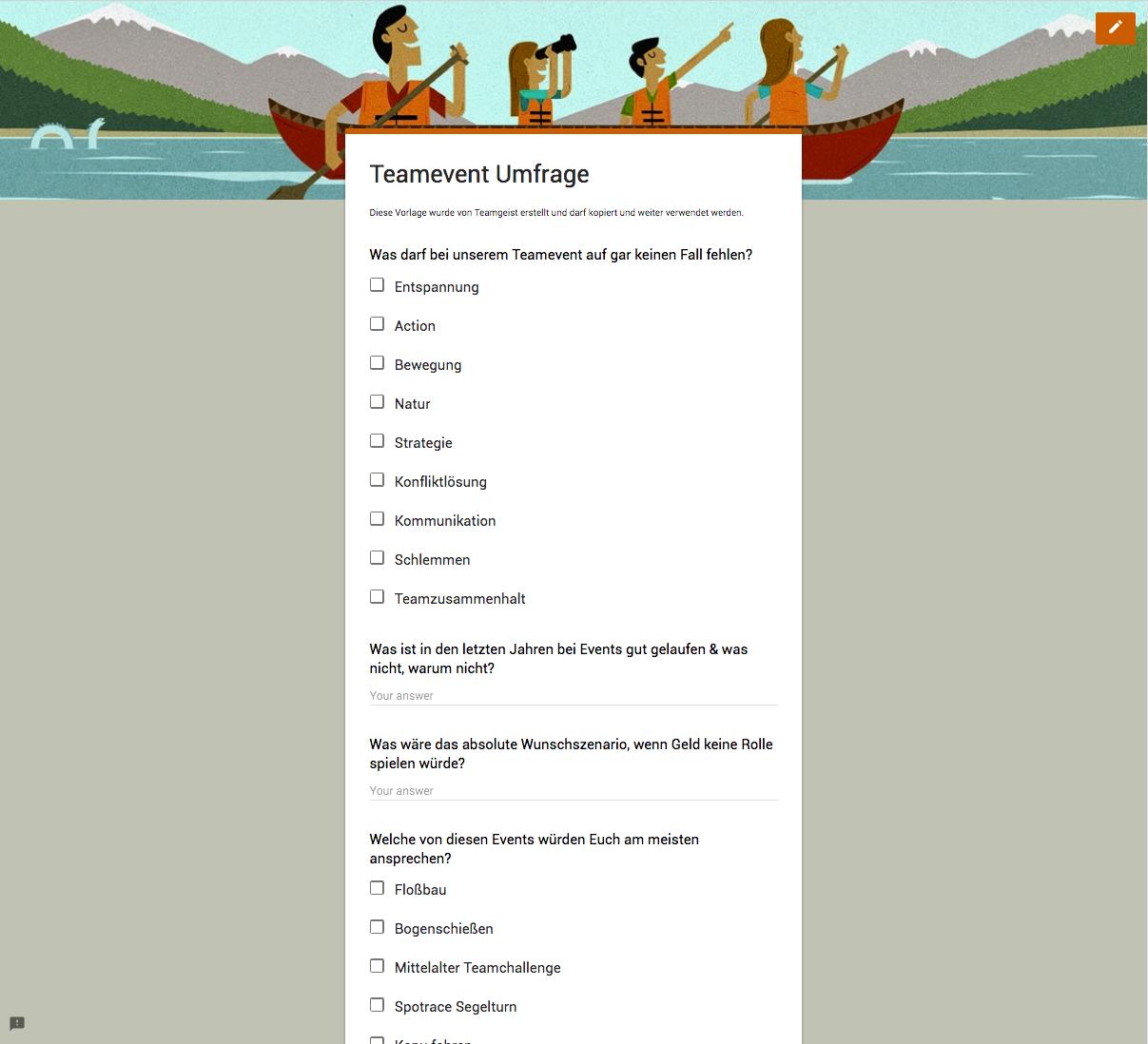 Teamevent Umfrage Google Formular