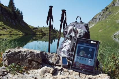 See Berge Tablet iPad GPS Wanderstoecke