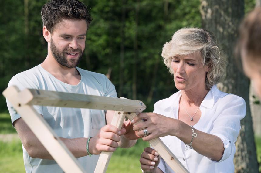 Katapult Bau Holz Schraube Team